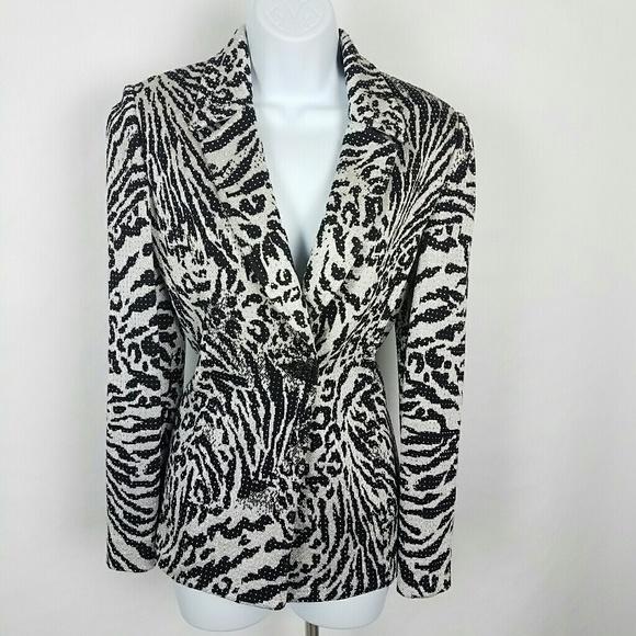 56324e82142e0 Vintage St. John Sparkle Rhinestone Zebra Blazer. M 5ad81ff49a9455bcec24e21c